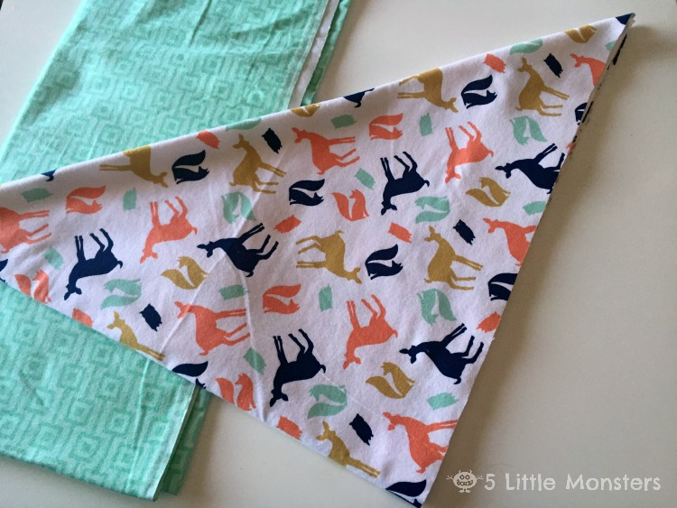 Place The Two Fabrics Right Sides Together And Sew Around The Outside  Leaving An Opening In One Side For Turning. Clip The Corners. Turn Right  Side Out.