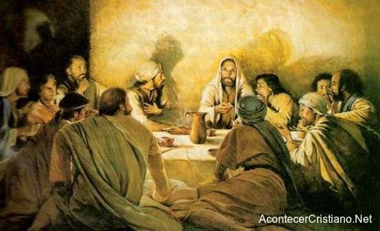 Jesús y los apóstoles comiendo en la Última Cena