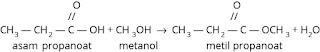 Reaksi asam kaboksilat dengan alkohol menghasilkan ester
