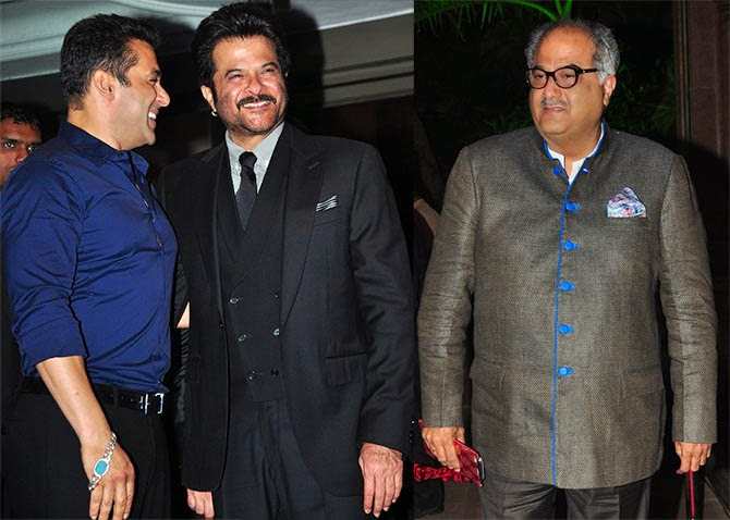 Salman Khan with his No Entry co-star Anil Kapoor and Boney Kapoor, Pics from Arpita-Ayush's Wedding reception