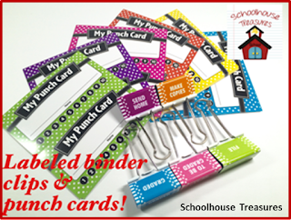 Punch cards and labeled clips in Elementary Box for July.