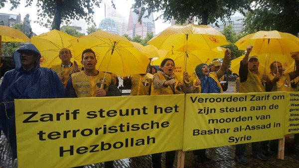 Iranians in Holland protest trip by Zarif to The Hague