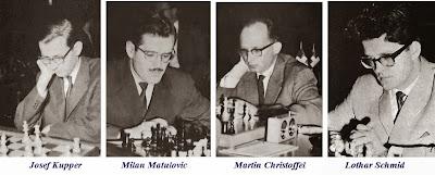 Los ajedrecistas Josef Kupper, Milan Matulovic, Martin Christoffel y Lothar Schmid