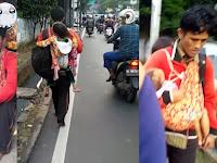 Seorang Ayah di Jakarta Barat Gendong 2 Anak Berjalan Tanpa Alas Kaki: Kami Ingin Pulang ke Bone
