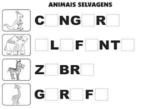 Bingo de animais selvagens