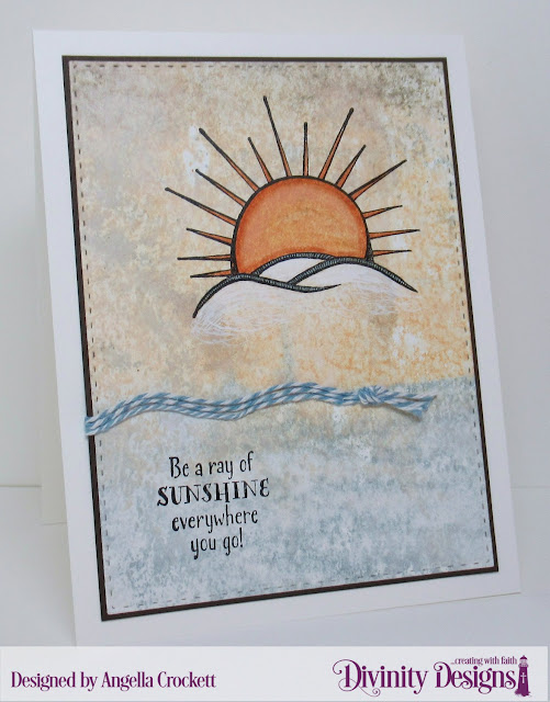 Divinity Designs Hello Sunshine and Double Stitched Rectangles Dies, Card Designer Angie Crockett