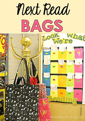 "Pinterest Idea for your classroom! Make a next read bag tree from an old or inexpensive hanging rack! Another idea in this photo is to make a board for students to place ""check out"" cards for their books. Helps keep track of what they are reading!"