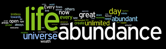 ACTION affirmation tag cloud created by Wordle
