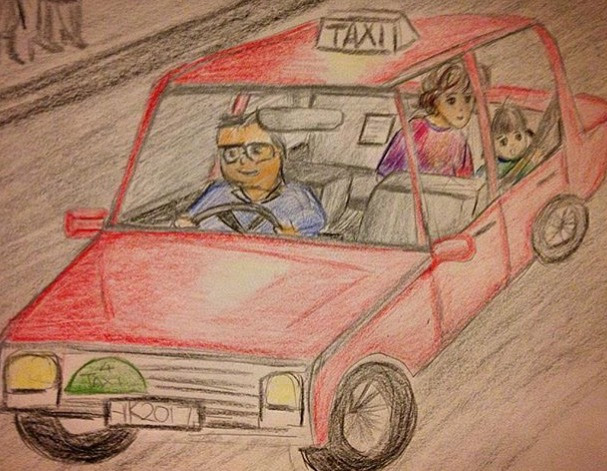 motherhood mom daughter taxi hongkong drawing art sketch
