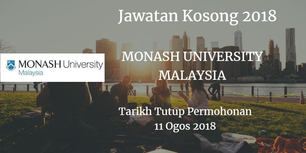 Jawatan Kosong MONASH UNIVERSITY MALAYSIA 11 Ogos 2018