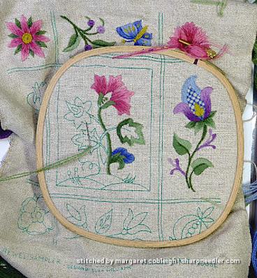 Crewel Sampler (by Elsa Williams): Beginning to work the central motif