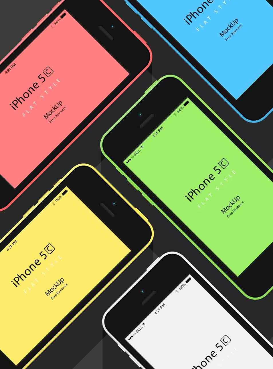 iPhone 5C Flat Mockup PSD Template