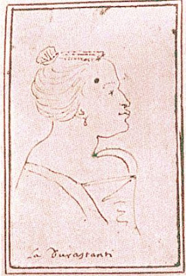A caricature of Margherita Durastanti, drawn while she was prima donna at the Teatro San Giovanni Grisostomo, Venice, between 1709 and 1712.
