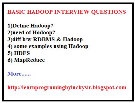 Basic Hadoop Interview Questions - Learnprogramingbyluckysir