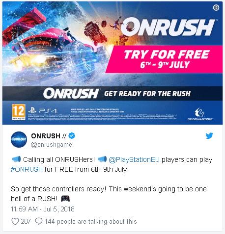 Onrush бесплатные выходные