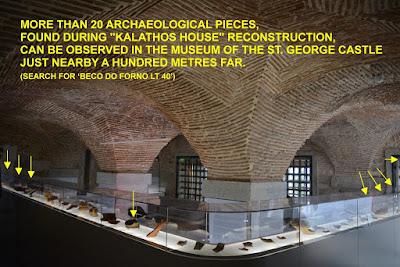 Peças encontradas nas obras do edifício Kalathos House, expostas no museu do Castelo