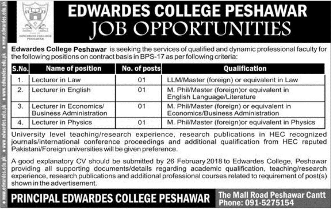 Latest Jobs in Edwards College Peshawar 2018