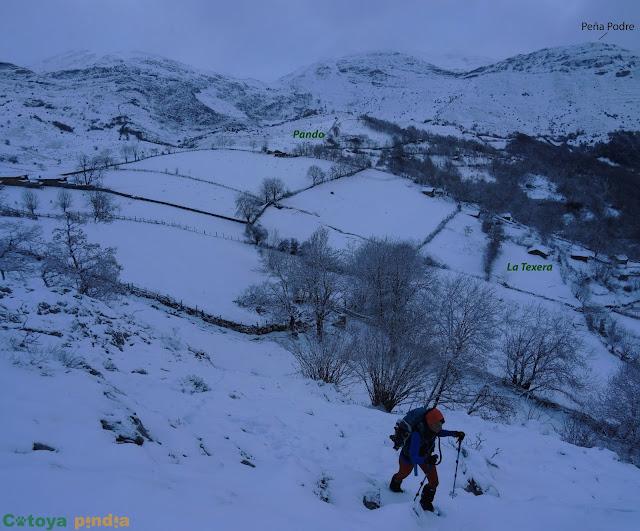 Ruta invernal por los cordales occidentales de la Sierra del Aramo; Peña del Alba, Champaza, Pelitrón y Vallonga.