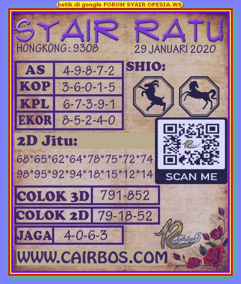 Kode syair Hongkong Rabu 29 Januari 2020 129