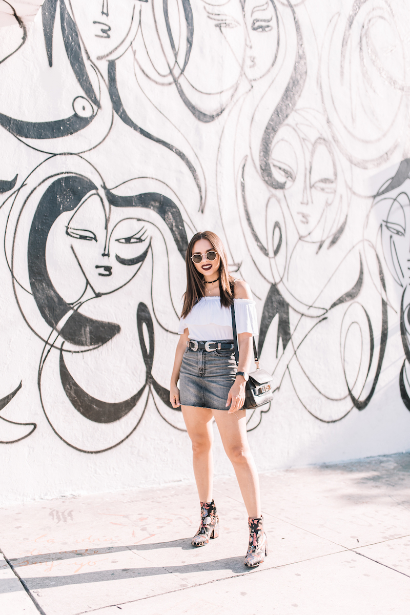 abercrombie, fashion, miami fashion blogger, denim skirt, off the shoulder top, floral boots, double buckle belt,