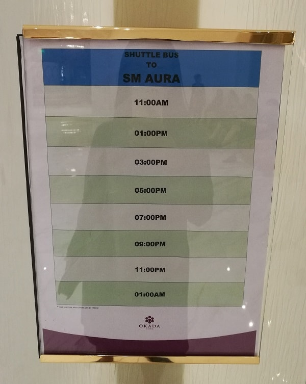 Schedule from Okada Manila to SM Aura Premier