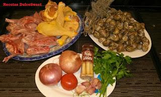 Ingredientes receta pollo con conejo y caracoles