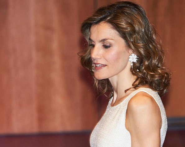 Queen Letizia at  the Delivery of the third edition of Spain-India Council Foundation Award. Queen Letizia wore Hugo Boss dress, Magrit Pumps, Tous Jewelery earrings