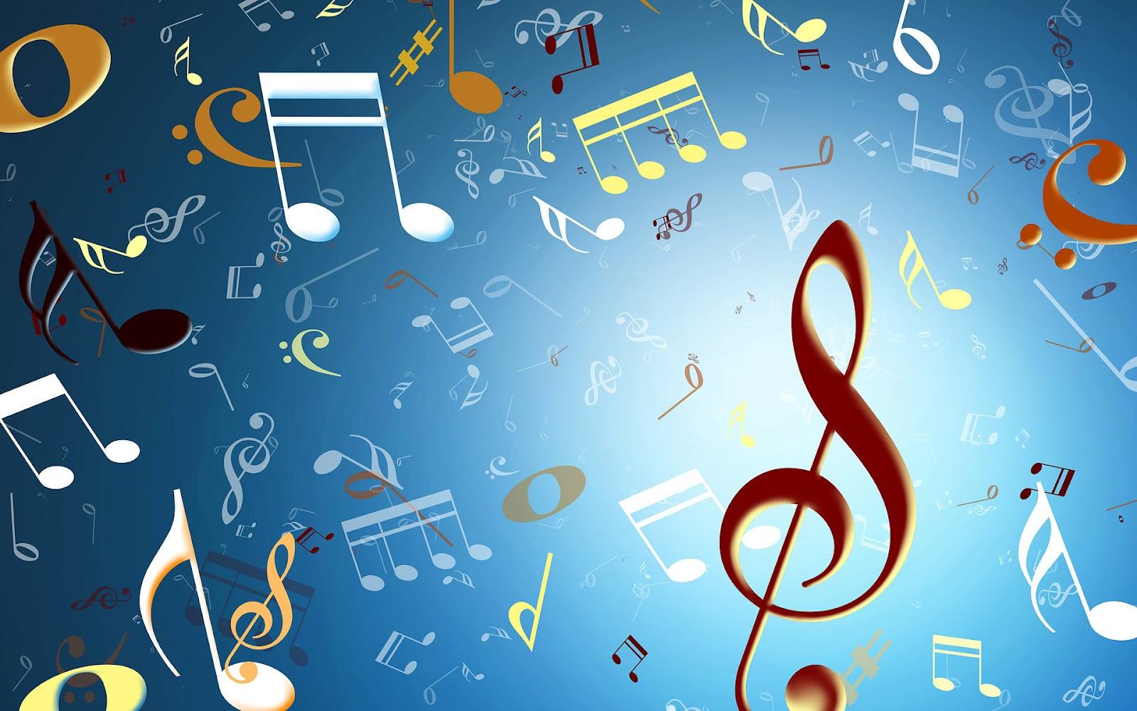 Blauwe achtergrond met muzieknoten  Mooie Leuke