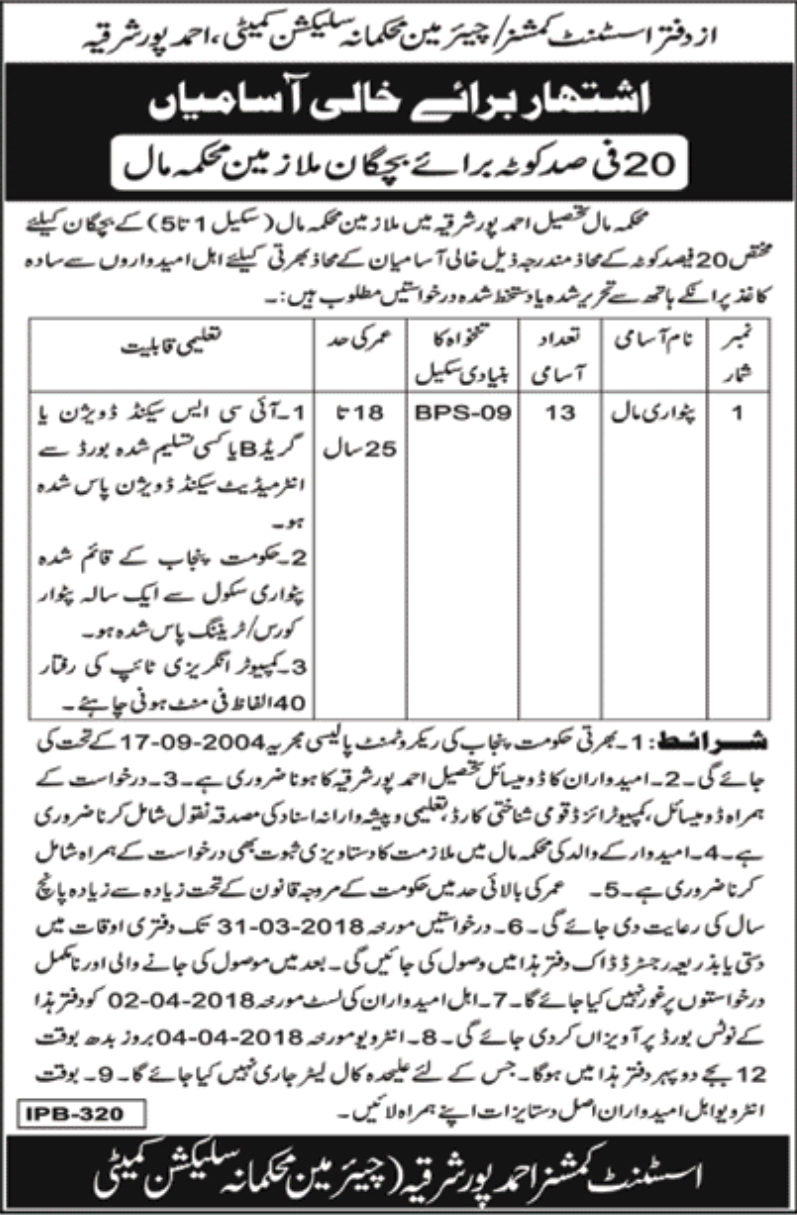 Jobs In Office Of The Deputy Commissioner Punjab March 2018