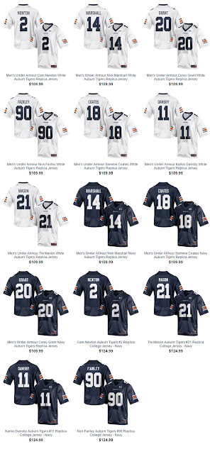 2016 Auburn Under Armour jerseys