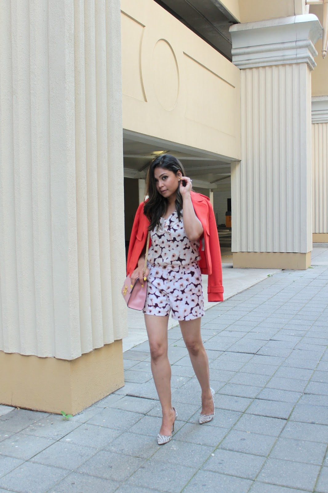 floral on floral, coordinates, ruffle top, shorts, cropped trench, red trech, embellished heels, fashion blogger, street style, saumya shiohare, myriad musings