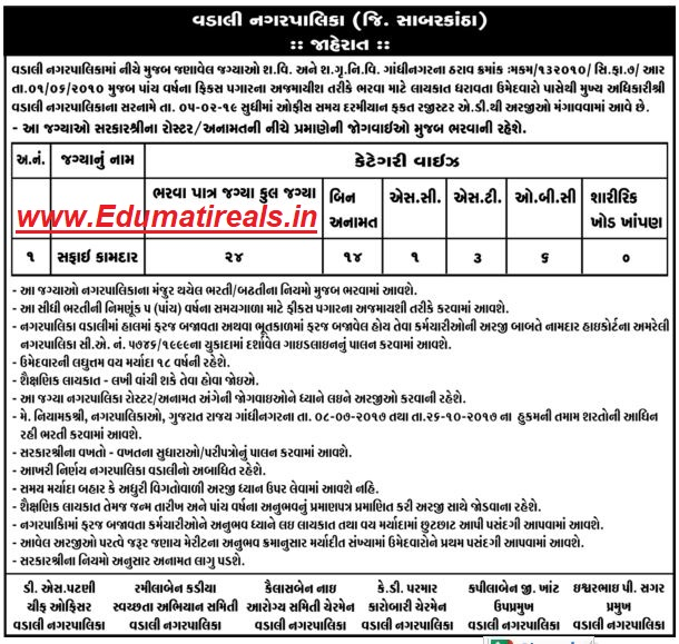 Vadali(sabarkantha) Nagarpalika Recruitment