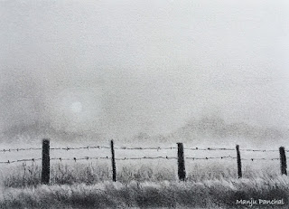 A charcoal drawing of a foggy landscape by Manju Panchal