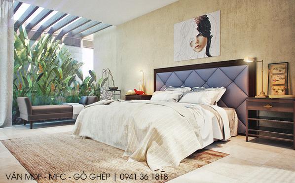 thiết kế phòng ngủ chủ đề hình học