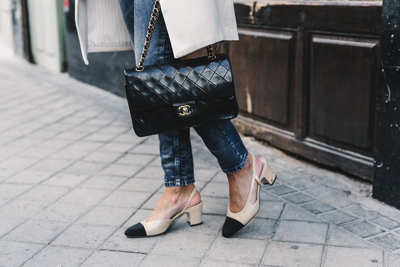 Look For Less Chanel Classic Two Tone Slingback Heels