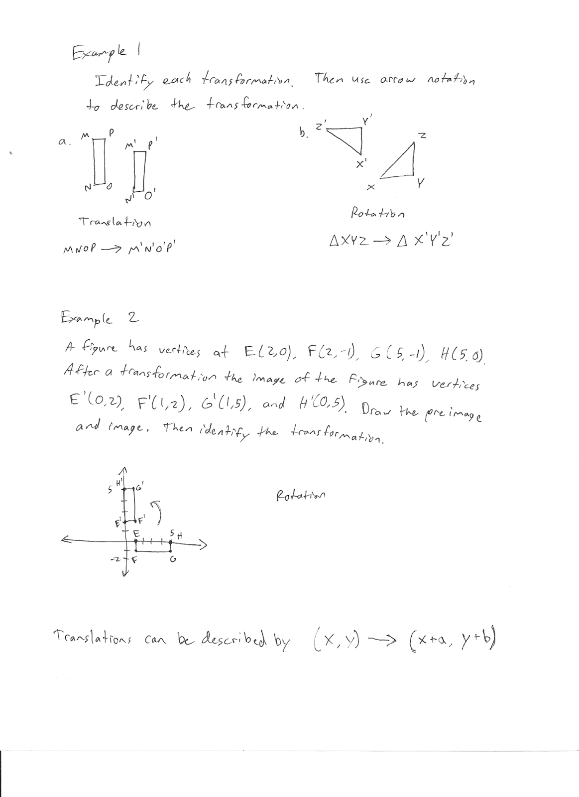 Mr Jimenez S Geometry Class Transformations In The