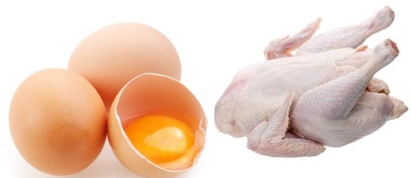Cara Mendapatkan Vitamin E Alami untuk Kesehatan Rambut dengan telur dan daging ayam