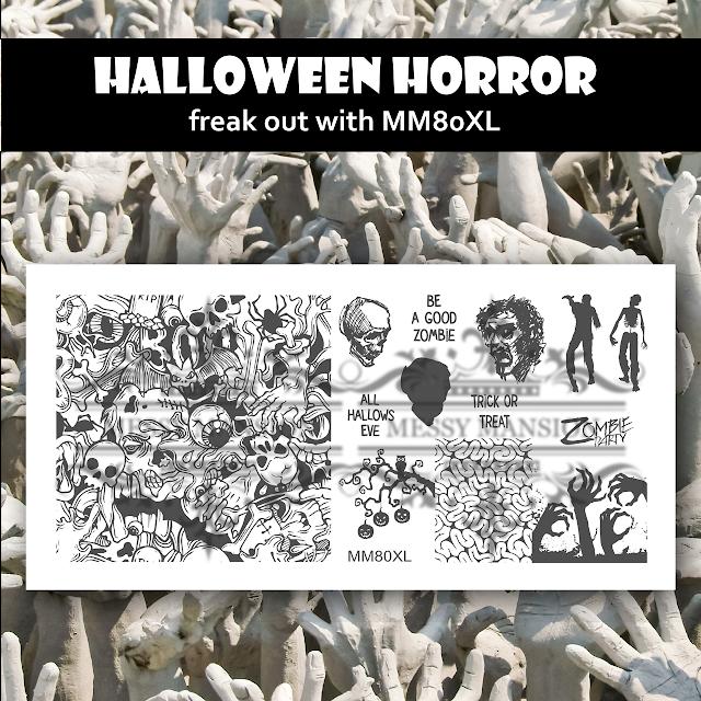 Lacquer Lockdown - Halloween, halloween nail art, halloween nail art stamping plates, nail art, nail art stamping ideas, holiday nail art, stamping plates, Messy Mansion, zombies, frankenstien, candy corn, murals, eyeballs, zombie teeth, skulls, brains, gore, graveyards