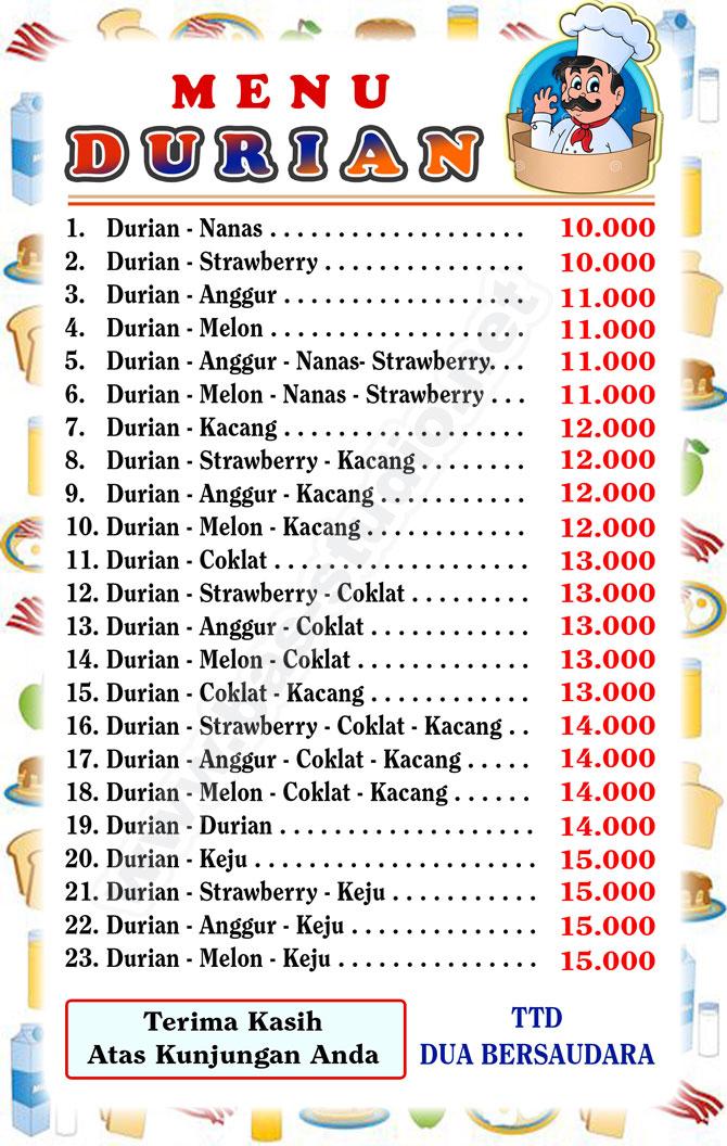 Desain Label Menu Roti Bakar Khas Rasa Durian