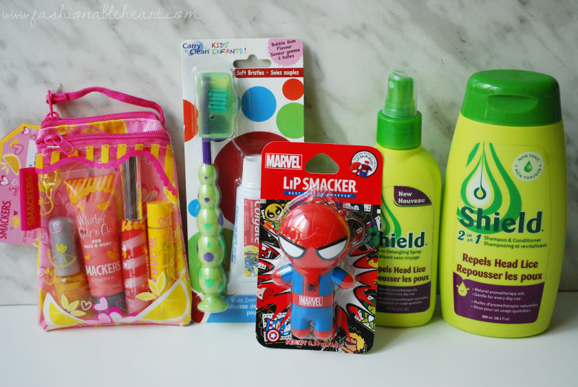 bbloggers, bbloggersca, canadian beauty bloggers, parents, back to school, teachers, shield shampoo, shield spray, colgate toothbrush, travel dental kit, lip smacker, lipsmacker, spiderman, pink lemonade glam bag, school essentials, amazing pomegranate, carry clean dental travel pack