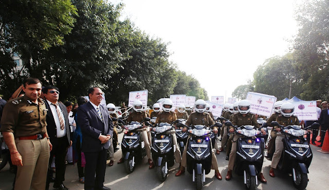 Under project Sakhi Hero presents 50 new scooters to Gurugram Women Police