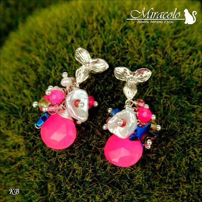 Miracolo, pink quartz earrings, różowe krople kwarcu,perły keishi