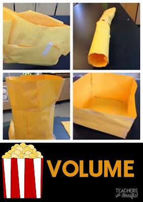 STEM Challenge! This one is a fabulous reminder for what volume is! Kids build a container for a specific amount of popcorn and then test it! There may even be some popcorn to eat!