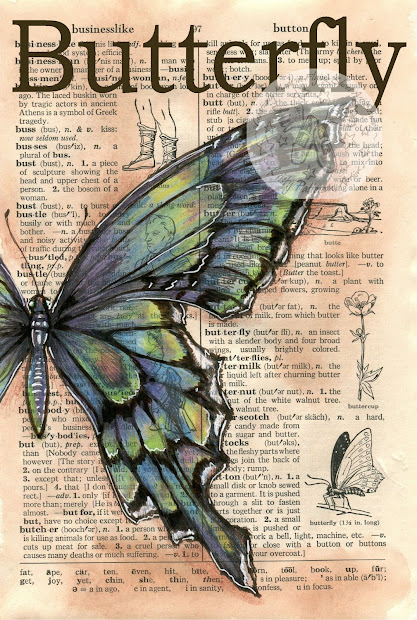 Flying Shoes Art Studio Blue Green Butterfly