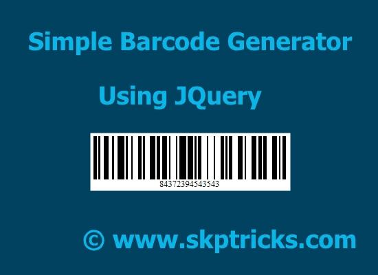 Simple jQuery Based Barcode Generator - Barcode   SKPTRICKS