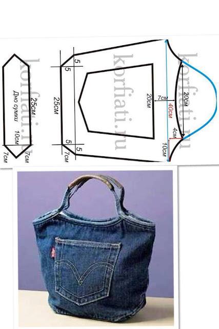 bolso hecho de Jeans con molde