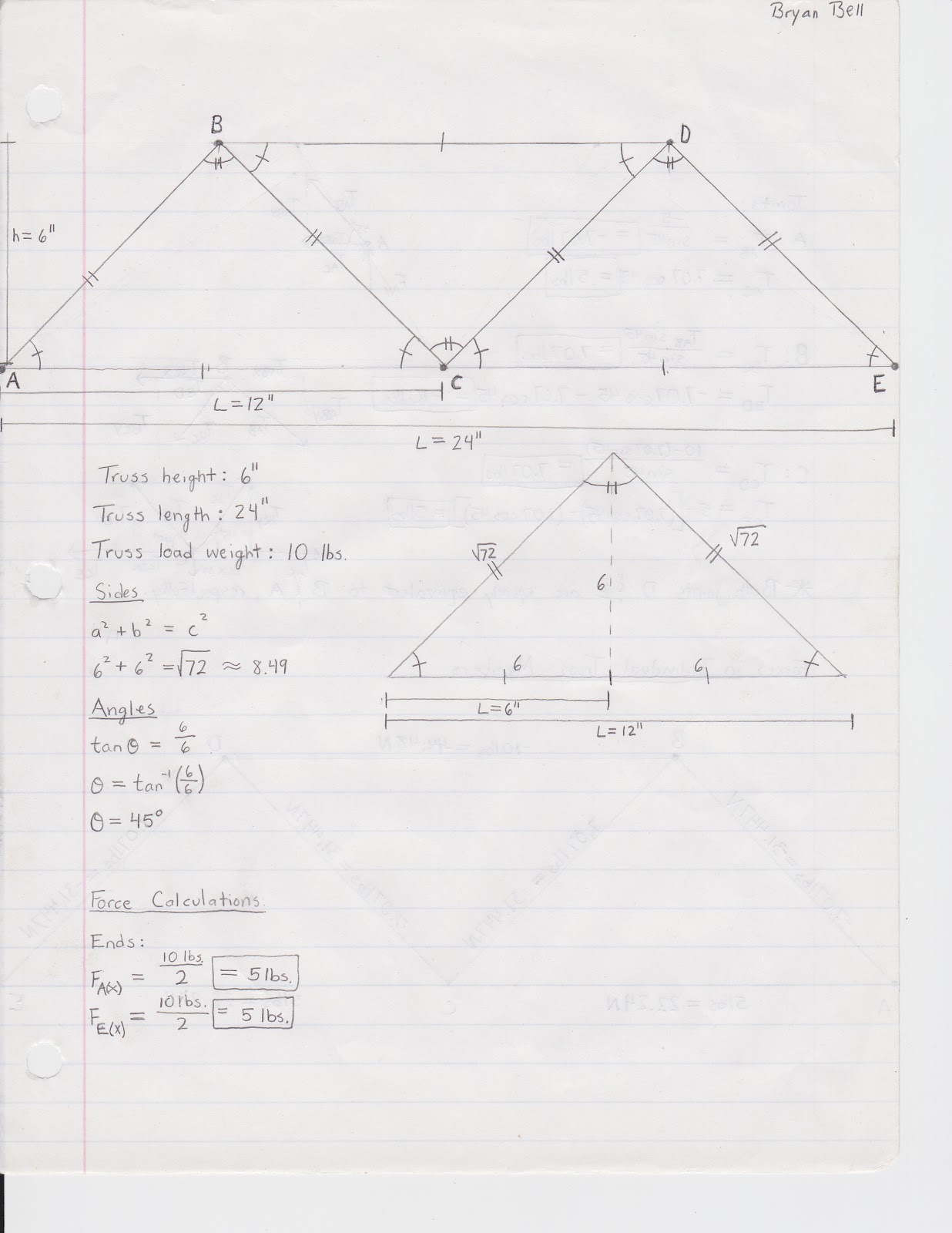 it was just simple trigonometry and force diagrams to figure out the force on each member both in pounds and in newtons the results of my truss analysis is  [ 1236 x 1600 Pixel ]