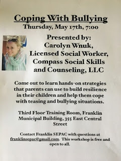 SEPAC Workshop: Coping with Bullying - May 17