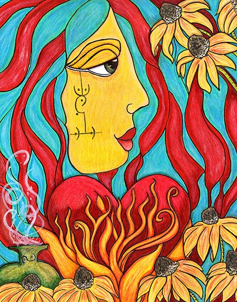 mixed media with turquoise and red striped hair woman behind a flaming heart and black eyed susans along the bottom and upper right corner