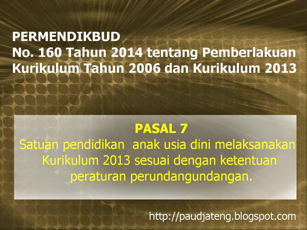 PAUD (TK KB TPA SPS) Tetap Melaksanakan Kurikulum PAUD 2013